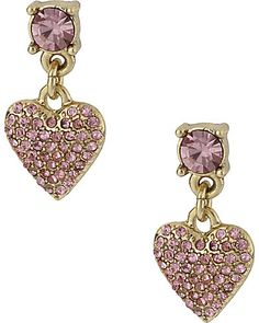 PINK CRYSTAL HEART DROP by Betsey Johnson