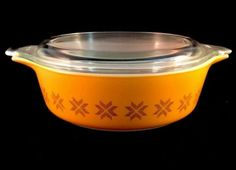 Town And Country Baking Casserole 473 1 Pint Pyrex 1960s Orange Design Vintage in Pottery & Glass, Glass, Glassware, Pyrex | eBay