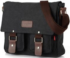 Amazon.com: Zenness Canvas Hiking Traveling Satchel Messenger Bag (Black): Clothing