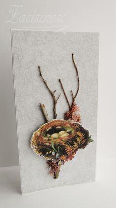 Kartka wielkanocna z ptasim gniazdem na gałązkach/ Handmade Easter card