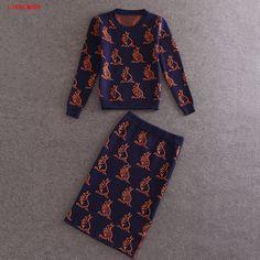 Cute Animals Print Crop Top Knee Length Pencil Skirt Set Fashion Ladies Office Work Suits Women Two Piece Knit Set #Affiliate