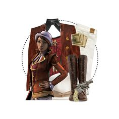 """""""Tales from the Borderlands // Fiona"""" by graywil ❤ liked on Polyvore featuring American Eagle Outfitters, Neat Collar, Christian Lacroix, Borsalino, John Fluevog and Revolver"""