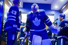 TORONTO, ON - MARCH 26: Frederik Andersen #31 of the Toronto Maple Leafs walks out of the dressing room before placing the Buffalo Sabres during at the Air Canada Centre on March 26, 2018 in Toronto, Ontario, Canada. (Photo by Mark Blinch/NHLI via Getty Images)