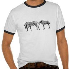 Two Zebra's Men's Basic White Black Trim TShirt