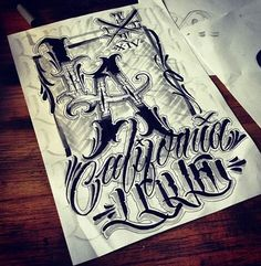 L.A CALIFORNIA LOVE Chicano Lettering, Tattoo Lettering Fonts, Tattoo Script, Graffiti Lettering, Typography Logo, Calligraphy Fonts Alphabet, Letras Tattoo, Writing Tattoos, Word Fonts