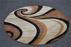 0327 Beige 6 feet 5 inch Diameter Round Area Rug Carpet Large New Rugs On Carpet, Carpets, Round Area Rugs, Unique Colors, Contemporary, Modern, Tribal Tattoos, Beige, Abstract