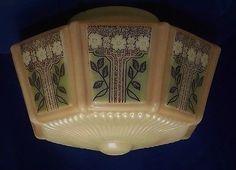 Antique Art Deco Uranium Alacite Custard Glass Ceiling Fixture Chandelier Shade