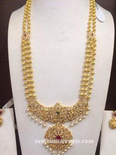 22k gold multilayer long haram with stone pendant
