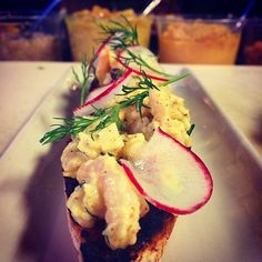 One of the delicious dishes on our Dine Around Seattle menu: Bay Shrimp Tartine with Madras Curry Aioli, Radish, Dill, and Cassis.