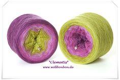Clematis Farbverlaufwolle aus 100% Merino extrafine Farbverlauf: lila-pink-hellflieder-kiwi-neongrün