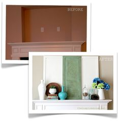Ideas for covering up the built-in TV nook above the fireplace ...