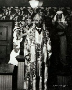 Gustav Klimt at a costume party in the Villa Primavesi, 1916