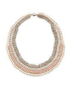 Shades Of Pink Beaded Collar Necklace