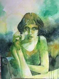 La ragazza che fumava gauloises (2014) Watercolor by Alessandro Andreuccetti | Artfinder