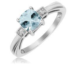 1Ct Aquamarine Ring
