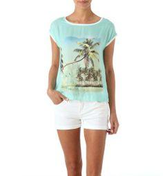 T-shirt imprimé palmiers Femme imprimé vert d eau - Promod