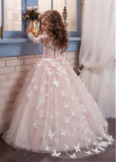 Buy discount Stunning Tulle & Lace Scoop Neckline Ball Gown Flower Girl Dresses With Beaded Handmade Flowers at Magbridal.com