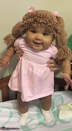 Baby Alana is dressed as a Cabbage Patch Doll! The idea of having her be a Cabbage Patch Doll was inspired from my own. Cute Baby Halloween Costumes, Halloween Costume Contest, Cute Costumes, Baby Costumes, Halloween Outfits, Cabbage Patch Kids Costume, Cute Baby Photos, Halloween Disfraces, Doll Costume
