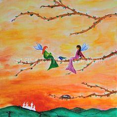Fairy Friends Original Painting by DreamTreeWonders on Etsy