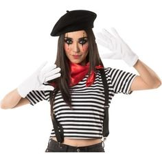 The Mime Costume Accessory Kit for adults includes a black beret, white gloves, black suspenders, and a red bandana. Think outside the invisible box when putting together a Halloween costume with this accessory kit! Mime Halloween Costume, Halloween Costume Accessories, Halloween Costumes For Teens, Costumes For Women, Halloween Makeup, Mime Makeup, Halloween Halloween, Movie Character Halloween Costumes, Pierrot Kostüm