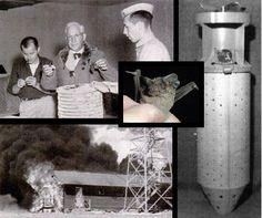 II Guerra Mundial: EEUU desarrolló una Bomba-Murciélago.La idea consistía en soltar bombas con cuenta regresiva amarradas a murciélagos cola de ratón (tadarida brasiliensis) sobre Japón, esperar que estos se refugiaran en techos, buhardillas, etc. y así generan incendios en lugares inaccesibles. Los experimentos funcionaron relativamente bien, como se puede ver en la figura, pero su desarrollo y utilización se vio opacado por la bomba atómica.