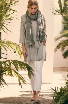 Main Image - Eileen Fisher Tunic & Skinny Jeans Outfit with Accessories
