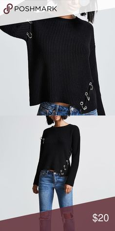 ⚡️Metal Ring Accented Sweater DOPE SWEATER  Medium weight knit sweater perfect for any fashion lover.  👻 Coolest sweater. Perfect for anyone trying to add a little spunk into their wardrobe. Sweaters Crew & Scoop Necks