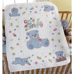 "Bucilla Cute & Cuddly Bear Crib Cover Stamped Cross Stitch Kit-34""X43"""