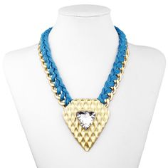 Woven Chain Triangle Statement Necklace Choker Blue