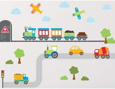 Vroom Vroom! Your little boy will love this awesome Transport Wall Stickers kit. Complete with a road and train track this fun design also includes trains, planes & automobiles. Your kids can move and rearrange the individual stickers to change the scene when they like. Perfect for bedrooms, playrooms and more, this colourful kit will brighten up the barest of walls.