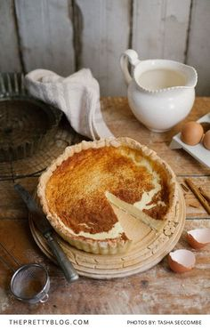 Magnificent Milk Tart Recipes Photography by Tasha Seccombe Tart Recipes, Sweet Recipes, Baking Recipes, Dessert Recipes, Sweet Pie, Sweet Tarts, Milk Tart, Quiches, Something Sweet