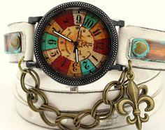 Bohemian leather watch, Women's wrist watch, Rustic wrap watch, Engraved jewelry, Personalized gift, Handstamped bracelet, leather cuff