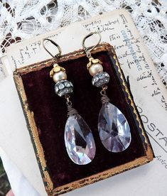 RESERVED for Marylee:  Vintage Assemblage Chandelier Crystal Earrings, by Rustic Gypsy