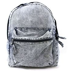 Vintage Denim Washed Backpack (300 NOK) ❤ liked on Polyvore featuring bags, backpacks, accessories, bolsas, vintage knapsack, vintage bags, zip top bag, rucksack bags and vintage denim backpack