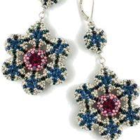 Bead earrings and Rivoli Vintage Flowers