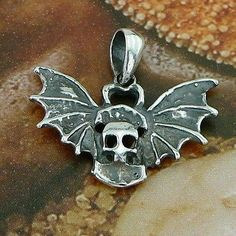 STERLING SILVER SKULL WITH WINGS PENDANT .925 / NICKEL FREE