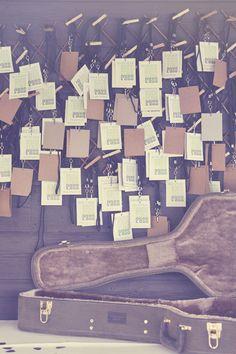 une urne de mariage dans une boite à guitage vintage et un plan de table avec des étiquettes kraft #guitare #wedding #box #urn