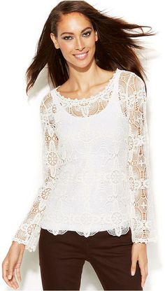 INC International Concepts Long-Sleeve Lace Top on shopstyle.com