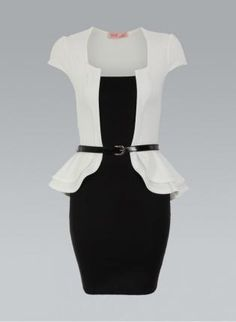 Cream & Black Contrast Peplum Belted Dress,  Dress, cream double peplum belted bodycon, Chic
