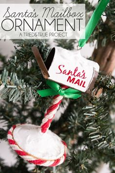 Use a miniature prop to make this adorable Santa's Mailbox Ornament! Includes step-by-step pictures and full supply list to make your own. Christmas Craft Projects, Diy Christmas Ornaments, Christmas Decorations, Diy Projects, Ornaments Ideas, Christmas Wreaths, A Christmas Story, Christmas Holidays, Winter Holidays