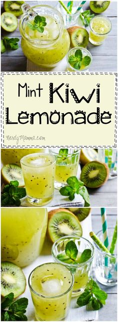 Kiwi-Ade (AKA Mint Kiwi Lemonade for the Uninitiated) I love this easy recipe for mint kiwi lemonade. What a fun twist on a traditional drink recipe!I love this easy recipe for mint kiwi lemonade. What a fun twist on a traditional drink recipe! Summer Drinks, Fun Drinks, Healthy Drinks, Healthy Recipes, Beverages, Easy Recipes For Desserts, Refreshing Drinks, Smoothie Drinks, Smoothie Recipes