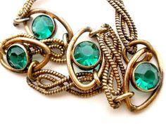 "Art Deco Green Rhinestone Bracelet Emerald Glass Gold Filled 7 1 2"" Estate   eBay"