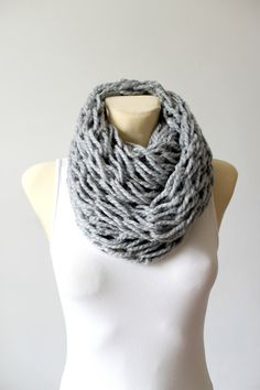 Chunky Knit Scarf Gray Autumn Scarf Oversized by LocoTrends