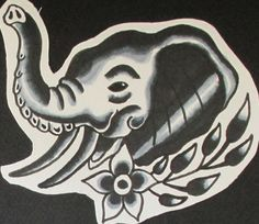 Traditional Black and Gray Tattoo Flash by Jermaine Taylor - Jermaine Taylor Tattoos - Elephant Tattoo Flash © www.jermainetaylortattoos.com