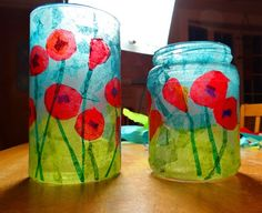 How to make a stained glass poppy votive Here's a fun little project that would make a lovely teacher or hostess gift for the holidays. Poppy Craft For Kids, Art For Kids, Crafts For Kids, Remembrance Day Activities, Remembrance Day Poppy, Paper Plate Poppy Craft, Paper Plate Crafts, Memorial Day Poppies, Veterans Day Poppy