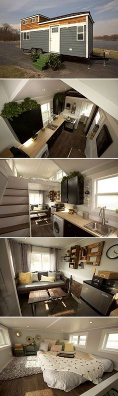 This modern 250-square-foot tiny house on wheels was built in South Elgin, Illinois by Titan Tiny Homes. The Notarosa uses steel stud construction and other weight-reducing materials that make it 33% lighter than most wood framed tiny houses.