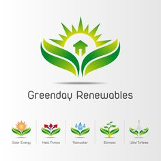 Logo design with sub-brand variations for a Renewable Energy installation company