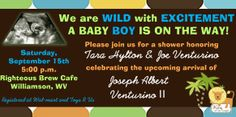 King of the Jungle Baby Shower Invitation in a 4x8  Contact me at aswiney01@yahoo.com to have this customized for only $10