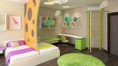 яркий интерьер, дизайн детской, интерьер детской в современном стиле, как оформить детскую