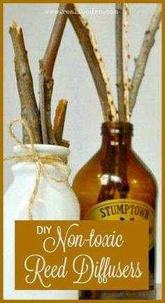 Non-toxic DIY Reed Diffusers. Keep your home smelling wonderful and fresh without using toxic candles or chemical air fresheners. You can even elevate your wellness and mood with these diffusers! realfoodrn.com #reeddiffusers #essentialoils